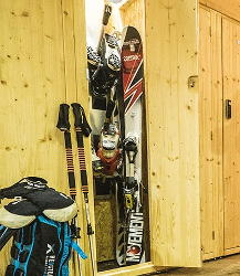Equipment parked inside a Mountain Story heated locker