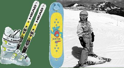 Enfant qui fait du ski sur le glacier de Tignes et les équipements dont il a besoin : casque, chaussures et skis adaptés