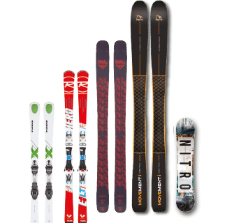 1 snowboard and 5 pair of skis available for rent at Mountain Story