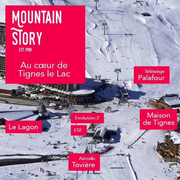photo du coeur de Tignes le Lac avec Mountain Story et les principaux centres d'interets