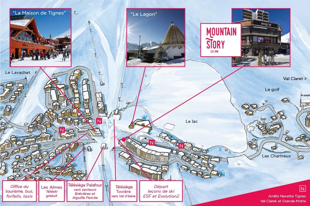 Plan de Tignes le Lac localisant Mountain Story et les principaux centres d'intéret