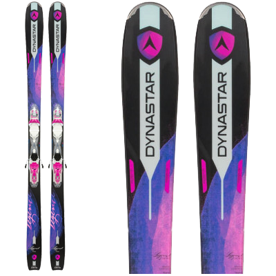 Dynastar LEGEND W80 : All Mountain Woman. Pair de ski noirs et violets disco.