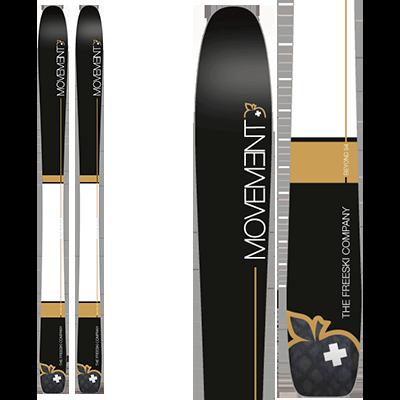 Movement Beyond 88 et 94 : All MOUNTAIN. Skis au design élégant, équilibre de noir et blanc avec une touche de doré.