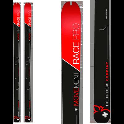 Movement Race Pro 66 : Rando Compétition. Skis designs noirs avec une entête rouge vif.