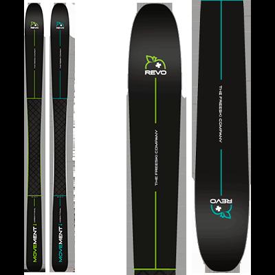 Movement REVO 82 et 82 W : Piste, paires de ski au design sobre et noir relevé d'une touche de vert pour le 82 ou de turquoise pour le 82W