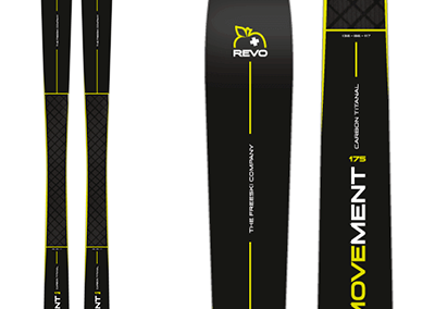 Movement REVO 86 : Alpine ++, skis with sober design, black with a just a touch of yellow.