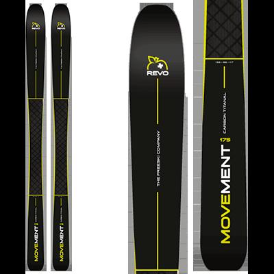 Movement REVO 86 : Piste ++, paire de ski au design sobre et noir relevé d'une touche de jaune.