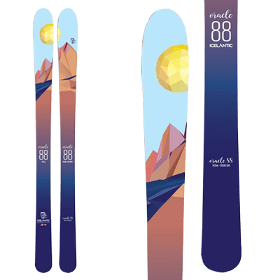 Icelantic Oracle 88: All Mountain femme. Skis illustrés d'un pic de roche sous le soleil