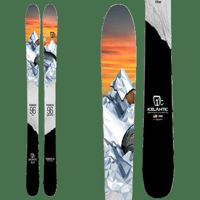 Icelantic Pioneer 96: All Mountain.Ski avec une illustration stylisé d'un pic neigeux
