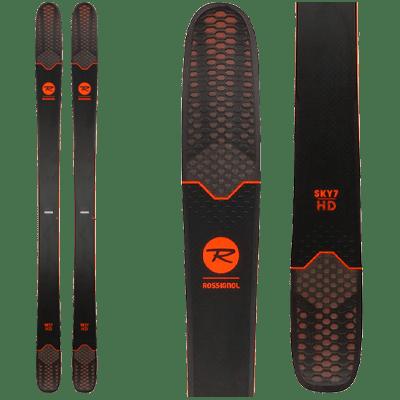 Rossignol Sky 7 HD : Ski de Free Ride.Pair de skis noir avec quelques touches de rouge.