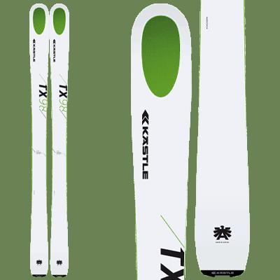 Kästle TX98 : Rando Free Rando. Pair de ski blanc avec un oval vert sur le bout.