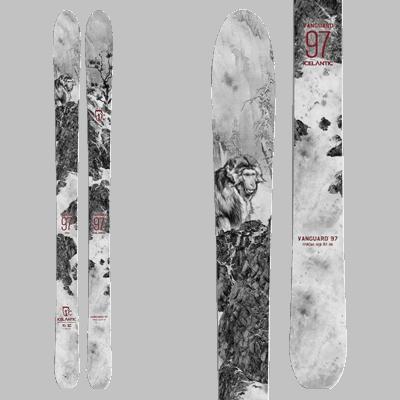 Icelantic Vanguard 97 : Ski Rando. Skis imprimés noir et blanc d'un visuel de yeti sur une face rocheuse enneigée.