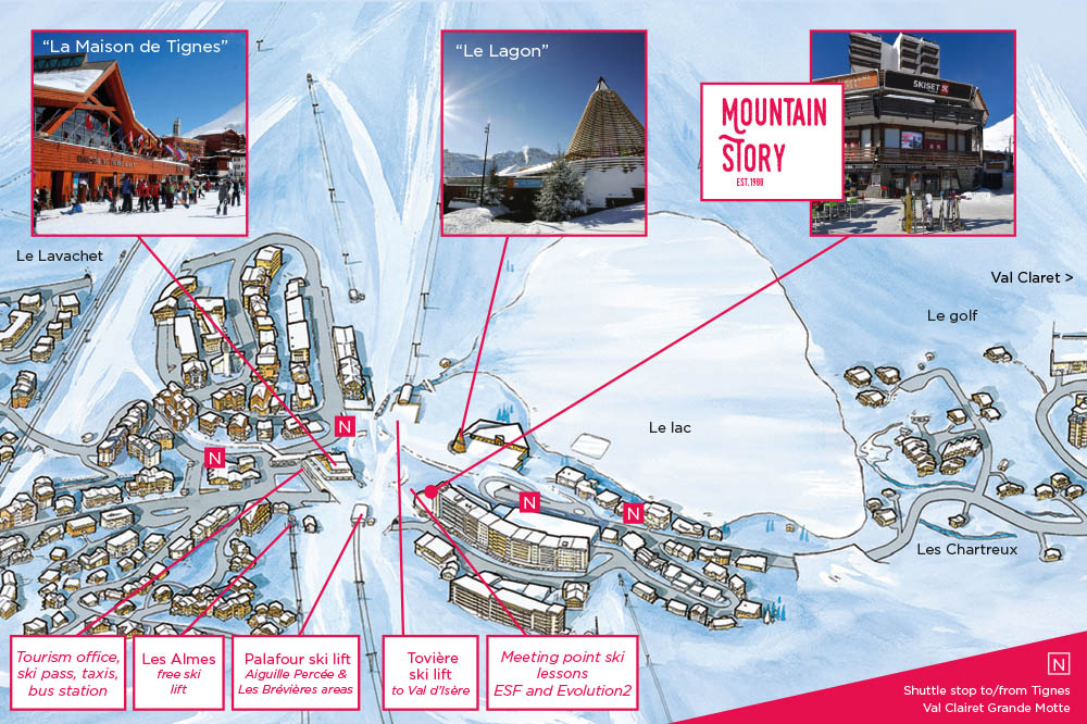 Map of Tignes le Lac identifying Mountain Story and other centers of interest
