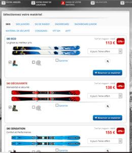 écran de la phase du choix du matériel de ski en ligne